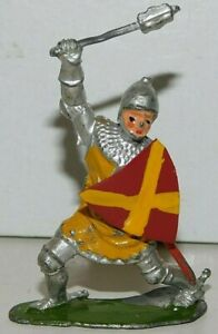 Old BRITAINS 1950s Lead, Knight of Agincourt On Foot w/ Mace, From Set #1664, W