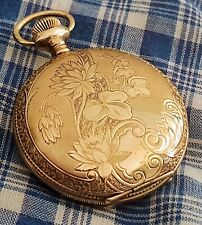 EARLY  WALTHAM GOLD FILLED 6S BEAUTIFUL OUTER ENGRAVED LIDS HUNTER WATCH RUNNING