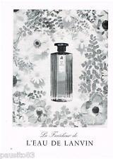 PUBLICITE ADVERTISING 105  1958  La fraicheur de l'EAU de LANVIN parfum