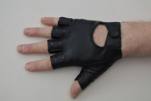 Millington Men's Fingerless Faux Leather Cycling / Work Gloves Black Size Small