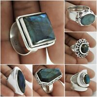 Natural Labradorite Gemstone Ring 925 Sterling Silver Handmade Jewelry US Size 8