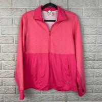 Adidas Womens Full Zip Jacket Size Large Pink Pockets Textured Thumbholes AA0199