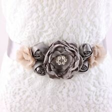 Grey Maternity Sash, Flower Belt, Flower Girl Belt, Bride Belt, Wedding Sash