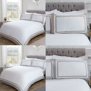 Hotel Collection with Contrast Border 100% Cotton Duvet Cover & Pillowcase Set