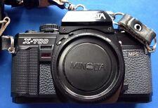 LOT W/ MINOLTA X-700, 2 LENSES, CASE, BAG, MANUALS, NEW BATTERY, FILTERS, ETC.