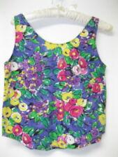 Vintage 80s 90s Judy Knapp Floral Fruit Print Tank Crop Summer Top Womens XS/S
