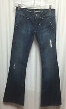 William Rast Jeans Women's 24 Madison Vintage Flare Dark Stonewashed Distressed