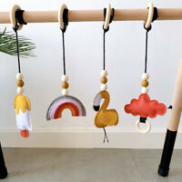 Baby Wooden Ring Play Gym Teething Activity Ice Cream Wool Felt Toys Shower Gift
