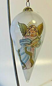 """Li Bien Christmas Ornament Teardrop Shape Angel w/ Harp 5"""" Beautiful!"""
