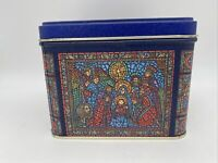 Vintage Tin Square Stained Glass Christmas Nativity Blue