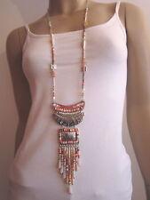 Modekette Damen Hals Kette lang Silber Rosa Perlen Hippie Ethno Ibiza Boho E992
