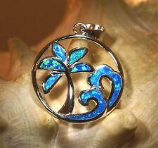 21mm Hawaiian Rhodium Over STER Silver Inlaid Blue Opal Palm Tree Waves Pendant