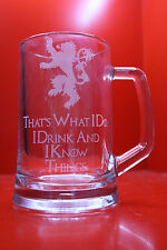 Engraved Glass Tankard Game Of Thrones I Drink And I Know Things Tyrion