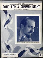 """1956 """"STUDIO ONE"""" TV SHEET MUSIC """"SONG FOR A SUMMER NIGHT"""" - MITCH MILLER"""