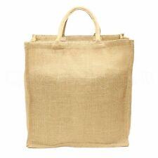 "Natural Burlap Shopping Bag - 16"" x 17"" x 8"" - Large Jute Grocery Tote Bag Sack"