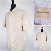 Men Tommy Bahama floral Hawaiian button up short sleeve shirt SIZE LARGE LINEN