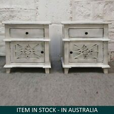 French Arched Doors Glass Back Bedside cabinet bed side tables White wash PAIR