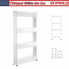 3/4-Tier Home Storage Cart Slim Slide Tower Rack Kitchen Shelf With Wheels