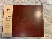 Gallery Leather Hardcover Bound Guest Book Brown 190 Pages New Ribbon Bookmark.