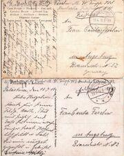 1918 Germany Military in Turkey Feldpost 511 Trupp 703 - 2 Postcards to Bavaria