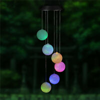 Round ball LED Color-Changing Power Solar Wind Chimes Yard Home Garden Decor US
