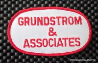 """Grundstrom Associate Embroidered Sew On Patch Advertising Uniform 4"""" x 2 1/4"""""""