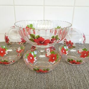Vintage Glass Bowl Trifle Dessert Dishes Bowls 1960/70s Glass Pudding Set FRENCH