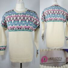 Pitlochry Ladies Cream Blue Pink Fair Isle Floral Nordic Wool Jumper Size 10