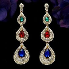 Gold Plated GP Mulit-color Crystal Chandelier Drop Dangle Earrings 08389 New