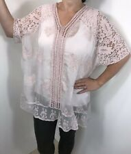 NEW Pink Silk & Lace Tunic Top Stretchy Floral Embroidery Lined Fits 18 20 22
