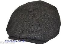 SALE Men Hat 8 Panel Paper boy Baker boy Hat Herringbone Hats & Caps Dark Grey