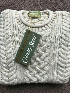 100% British Wool Ladies Aran Curl Roll Neck Ivory Jumper Chunky Cable Knit