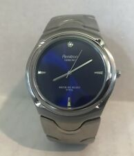 Men's Armitron Diamond Watch Blue Face Brushed Stainless Steel Water Proof 35mm