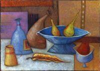 "Expressionist Andrej Losovoj ""Still life with pears"" oil canvas 70x50 cm"