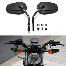 Pair of Motorcycle Black Long Stem Oval Rear View Mirrors for Harley Sportster
