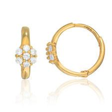 14K Solid Gold Baby Kids CZ Huggie Huggy Flower Petals Hoop Earrings 10mm Hoops