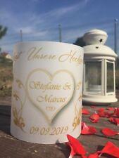 4 xTischlicht Hochzeit Tischdeko Windlicht Deko mit Namen Datum Gastgeschenk