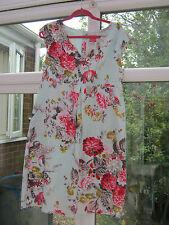 Joules  100% cotton floral summer day dress Duck egg Blue  pocket detail UK 14
