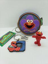 Elmo Sesame Street Workshop figure cake topper coin purse keychain vintage lot