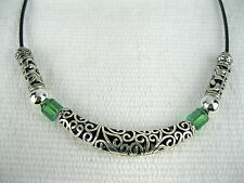 "Unique Tribal HandMade Necklace - Green Glass & Metal Tube Beads on a 18"" Choker"