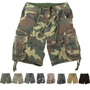 Mens Vintage Camo Cargo Shorts, Army Military Tactical Infantry Utility Rugged