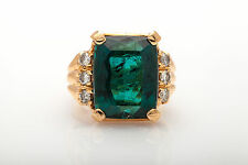 Antique RETRO $20,000 25ct Natural Blue Green Tourmaline Diamond 14k Gold Ring