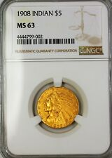 1908 $5 Dollar Indian Head Half Eagle Gold Coin NGC MS-63 (Better Coin)