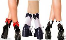 3 Pairs -Opaque Nylon Ankle High Socks with Ribbon-Look Bow Accent Lolita Pin-Up