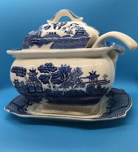 Vintage Blue Transfer-ware Soup Tureen w/ Plate & Ladle Castle & River Design