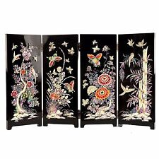 Hand Made Korean Traditional Crafts Four-Panel Mother-of-Pearl Folding Screen