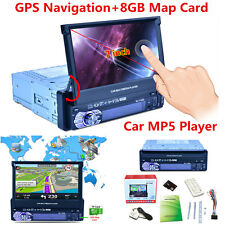 "7"" Hd Touch Screen 1Din Car Gps Navigation Bluetooth Fm Radio Mp5 Player+8Gb Map"