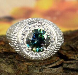 Museum Grade 4.51 Ct Green Diamond Solitaire Halo Men's Ring White Finish