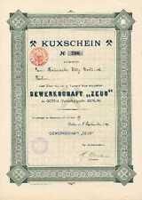Gewerkschaft Zeus Gotha Berlin histor Kuxschein 1909  Naphta Erdöl Benzin Öl Oel