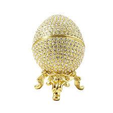 Gold Platted Faberge Wedding Proposal Crystal Egg Trinket Ring holder box